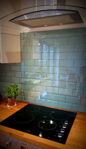 kitchen splash   duck egg blue tiles  cooker