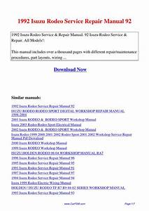 1992 Isuzu Rodeo Service Repair Manual 92 By Hui Zhang