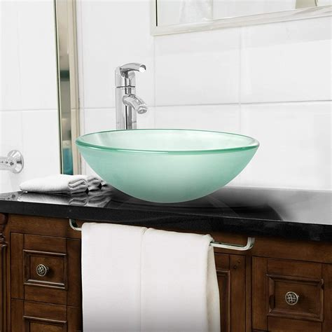miligore modern glass vessel sink  counter bathroom