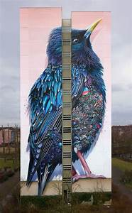 137 foot tall starling mural surprises upon closer inspection for Giant starling mural in berlin by collin van der sluijs and super a