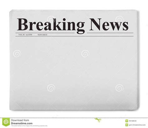 Breaking News Title On Newspaper Stock Photo - Image of ...