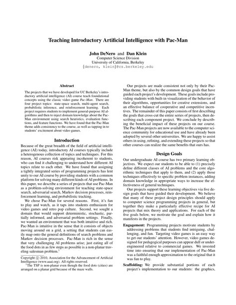 (PDF) Teaching Introductory Artificial Intelligence with