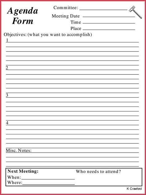 simple agenda template   agendas
