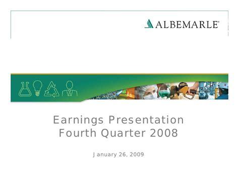 Albemarle Corporation Earnings Q4 2008 presentation