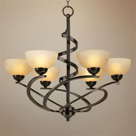 franklin iron works rubbed bronze ribbon chandelier