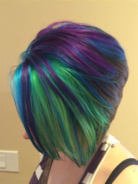 image result  peacock hair bob winter hair color peacock hair color mermaid hair color