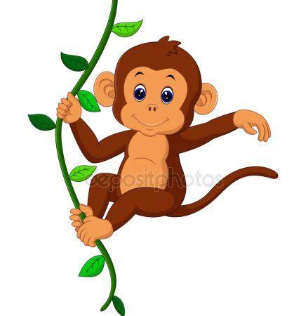 simpatico mono saludando de dibujos animados vector de