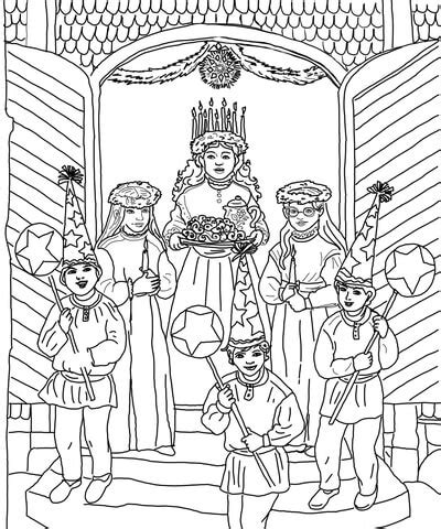 saint lucia day celebration coloring page  printable