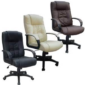cow split leather high back office chair pc computer desk swivel furniture ebay