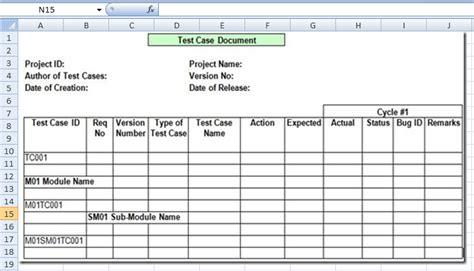 project management test case template excel xls