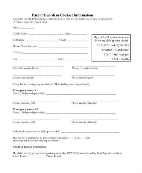 18606 emergency release form sle emergency release forms 8 free documents in pdf