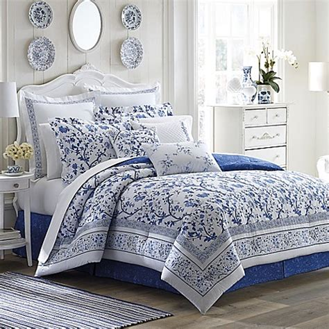 laura ashley charlotte comforter set  china blue bed