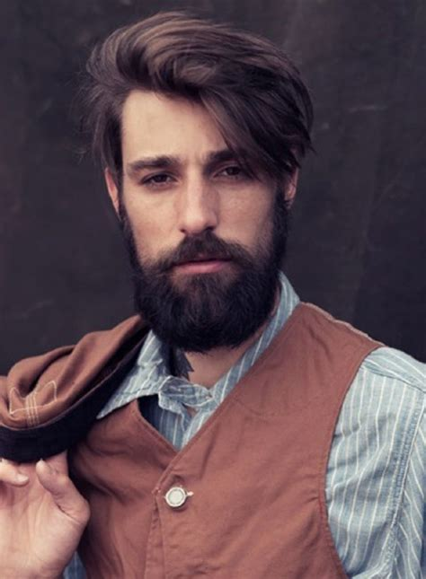 mens hair styles for faces longish undercut hair with but neat beard and 5697