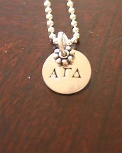 Greek letters circle charm necklace ks impressions for Sorority necklaces letters