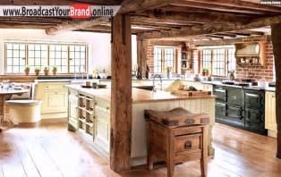 rustikale küche rustikale landhaus küchen einrichtung backsteinwand holztheke