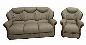 Turin 3 Seater Armchair Italian Coffee Milk Leather Sofa