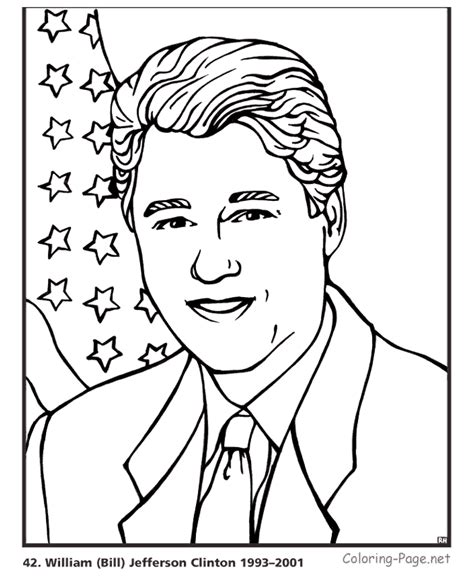 Presidents Coloring Pages by Bill Clinton President Coloring Pages