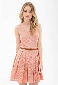 Lyst - Forever 21 Belted Crochet Lace Dress in Pink