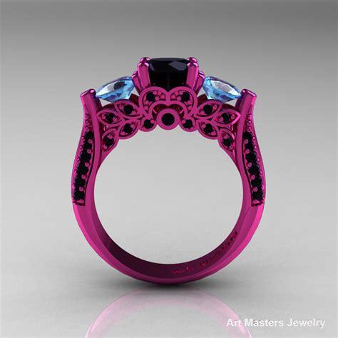 classic 14k pink gold three stone black diamond aquamarine