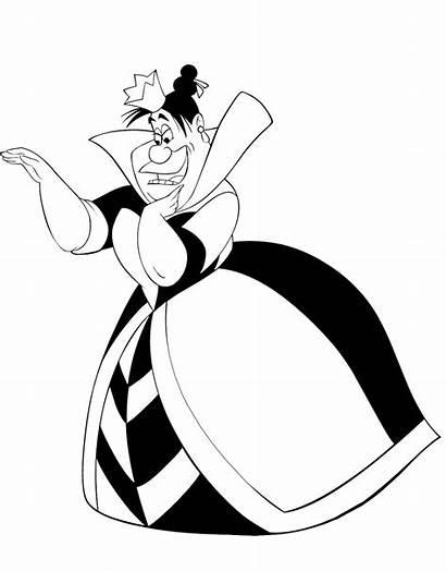 Queen Hearts Wonderland Alice Coloring Pages Disney