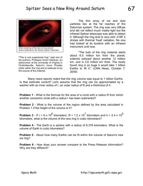 saturn planet worksheet spitzer sees a new ring around saturn worksheet for 9th