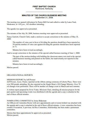 church business meeting minutes templates