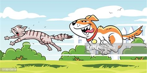 dog chasing cat vector art getty images