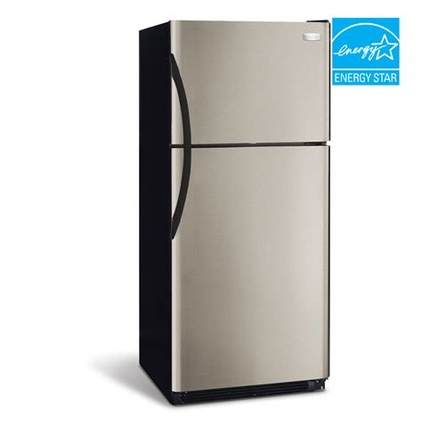 lowes refrigerators sale shop frigidaire 18 2 cu ft top freezer refrigerator with single ice maker silver mist energy