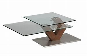 Table Basse Verre Bois : table basse en verre et bois et plateau pivotant 1265 ~ Teatrodelosmanantiales.com Idées de Décoration