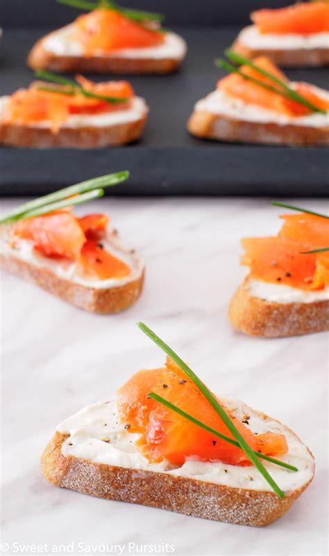 cuisine boursin smoked salmon and boursin crostini and savoury