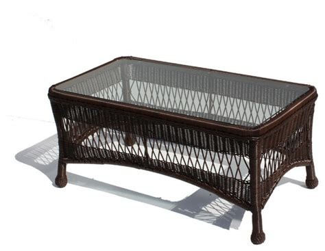 outdoor wicker coffee table princeton shown in chocolate