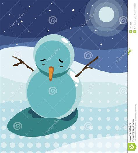 sad snowman   moon light stock illustration