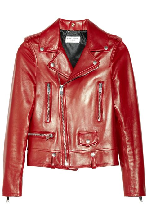 red leather motorcycle jacket saint laurent leather biker jacket in red lyst