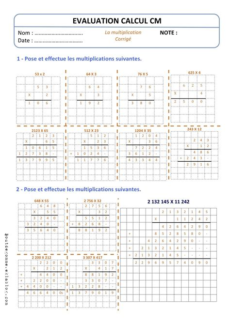 evaluation table multiplication ce2 evaluations cm technique multiplication bout de gomme