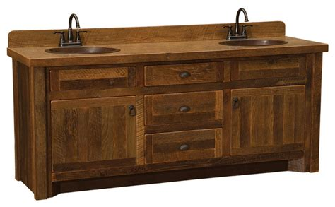 Barnwood Vanity, ' Without Top, Double Sink, Barnwood