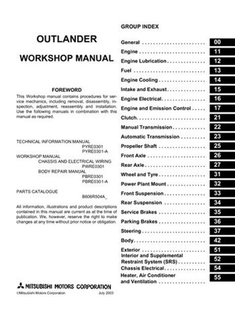 service manuals schematics 2006 mitsubishi outlander engine control 2006 mitsubishi outlander workshop manual pdf 2806 pages