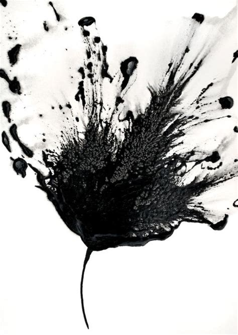 Abstract Black And White Watercolor Painting by Black White Abstract Flower Painting 5x7 Artwork