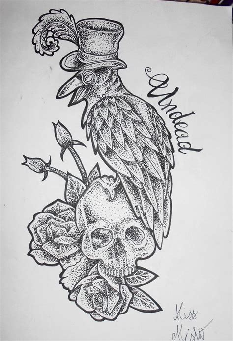tattooflash tattooodesign art dotwork neotraditional crow skull roses undead