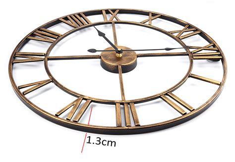 Oversized 3d Iron Decorative Wall Clock Retro Roman