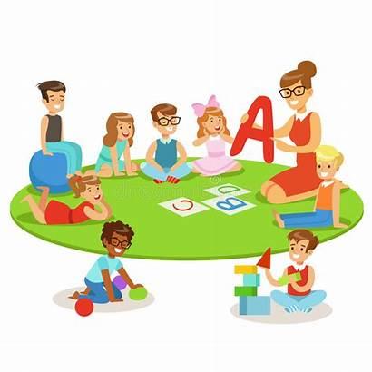 Sitting Teacher Children Floor Playing Nursery Learning