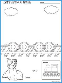 draw  train worksheet maple leaf learning library