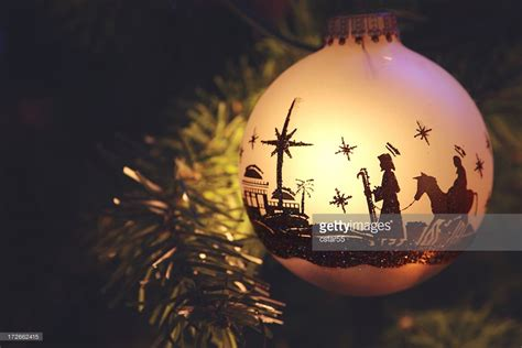 religious nativity silhouette on ornament stock photo getty images