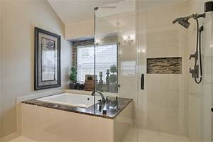 Soaking Tub Shower Combo Bathroom Farmhouse With