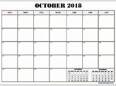 October 2018 Calendar Editable Printable Letter Template