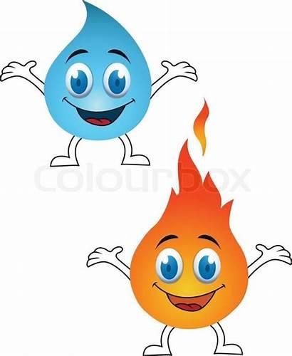 Cartoon Fire Water Clipart Vector Kawaii Elements