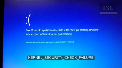 kernel security check failure blue screen error