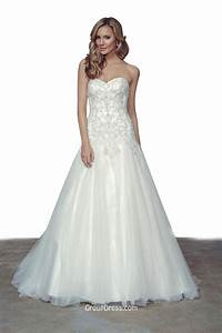 princess strapless sweetheart neck a line beaded tulle With strapless tulle wedding dress