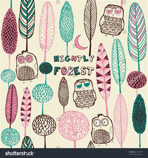 card forest owls stock vector  shutterstock