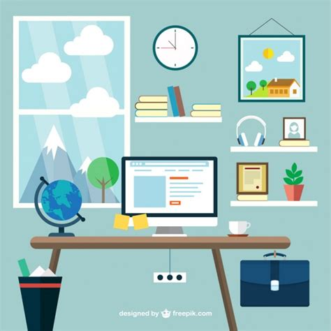 graphic design bureau modern workplace vector free