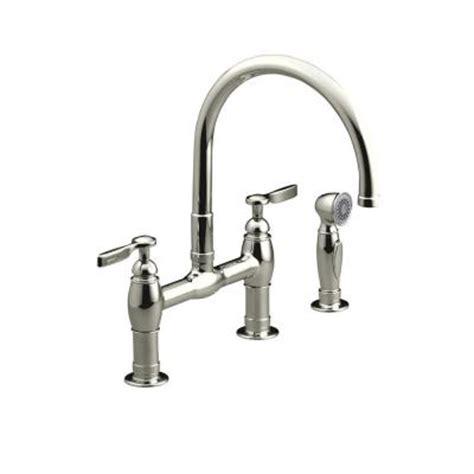 kohler parq 2 handle bridge kitchen faucet with side